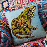 Leopard Frog Blue Cushion - Morris & Sons Australia