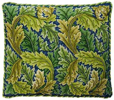 Acanthus Leaves (Green / Blue Bkgd)