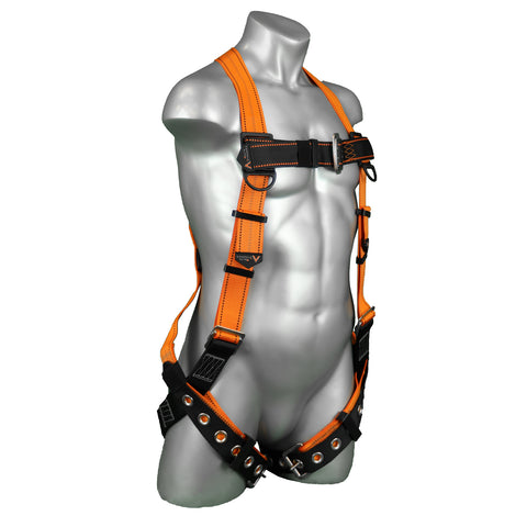 Warthog Tongue and Buckle Safety Harness Fall Protection Kit with 6' Double Leg Internal Shock Absorbing Lanyard