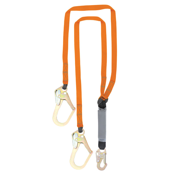 6' Double Leg External Shock Absorbing Lanyard with 2 Rebar Hooks and 1 Steel Snap Hook
