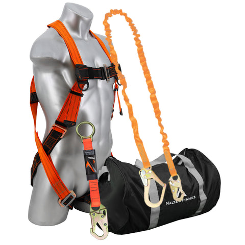 Warthog Pass Thru Safety Harness Fall Protection Kit with 6' Single Leg Shock Absorbing Lanyard