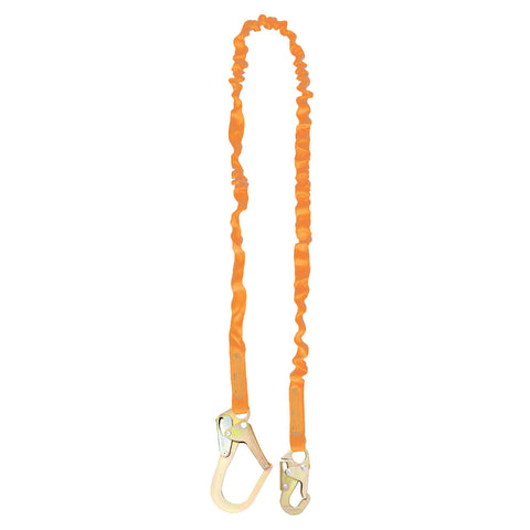 6' Single Leg Internal Shock Absorbing Lanyard with 1 Rebar Hook and 1 Steel Snap Hook