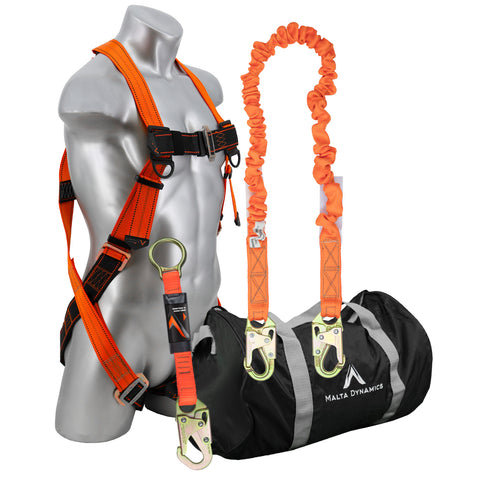 Warthog Pass Thru Safety Harness Fall Protection Kit with 6' Single Leg Stretch Lanyard