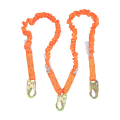 4.5' - 6' Double Leg Stretch Internal Shock Absorbing Lanyard with 3 Steel Snap Hooks
