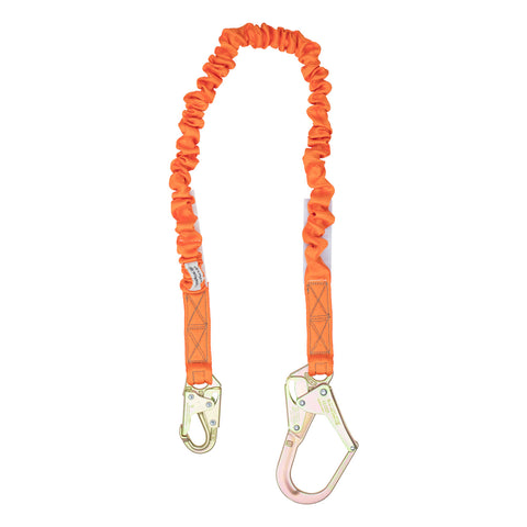 4.5' - 6' Single Leg Stretch Internal Shock Absorbing Lanyard with 1 Rebar Hook and 1 Steel Snap Hook