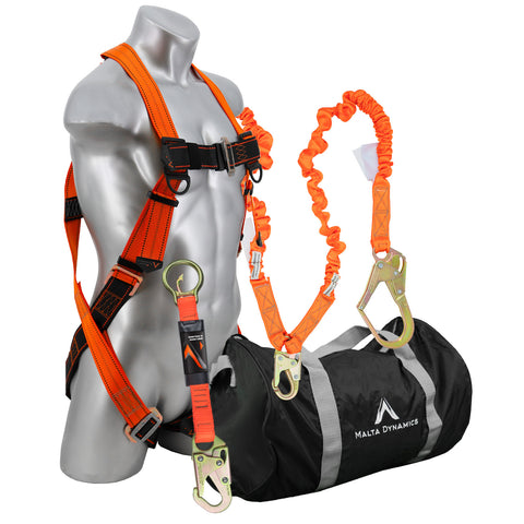 Warthog Pass Thru Safety Harness Fall Protection Kit with 6' Double Leg Stretch Lanyard