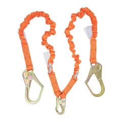 4.5' - 6' Double Leg Stretch Internal Shock Absorbing Lanyard with 2 Rebar Hooks and 1 Steel Snap Hook