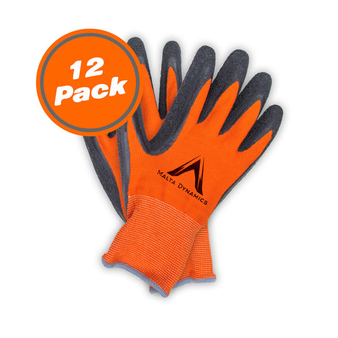 13N Thin Orange Polyester Gloves w/Latex Palm (12 Pair Pack)