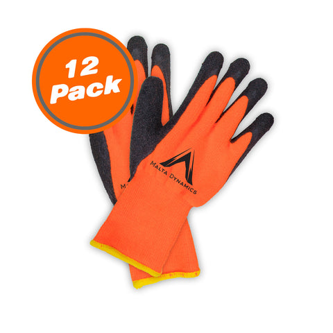 10N Thick Orange Brush Terry Gloves w/Latex Palm (12 Pair Pack)