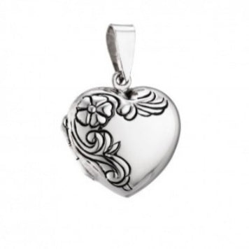 Silver Engraved Heart Locket Necklace