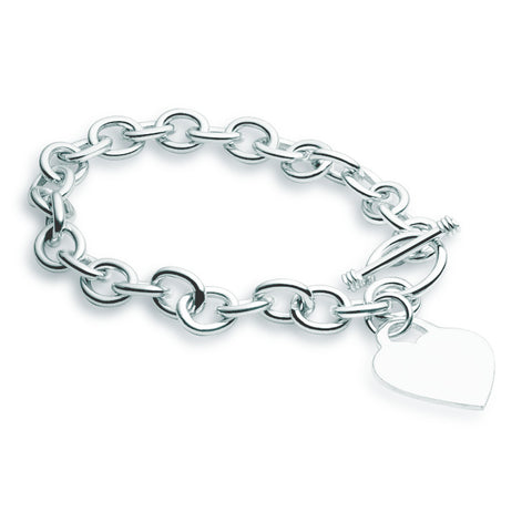 Cable Bracelet - Heart & Fob - Zaffre Jewellery - 1