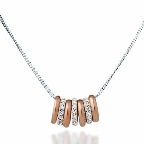 Swarovski Crystal Ring Collection Necklace - Rose Gold - Zaffre Jewellery - 1