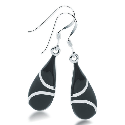 Onyx & Silver Teardrop Earrings - Zaffre Jewellery - 1