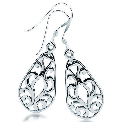 Filigree Poir Earrings - Zaffre Jewellery - 1