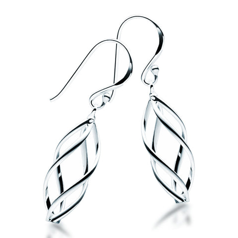 Fine Silver Twist Earrings - Zaffre Jewellery - 1