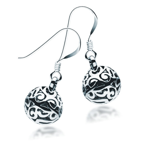 Oxidised Filigree Sphere Earrings - Zaffre Jewellery - 1