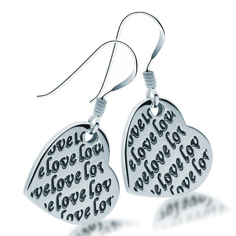 Script Heart Earrings - Zaffre Jewellery - 1