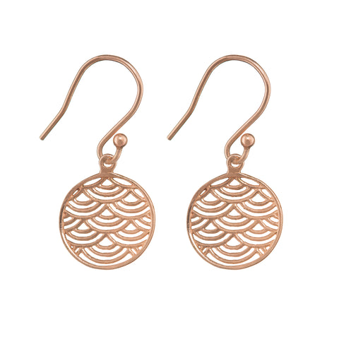 Wave Crest Earrings - Rose Gold