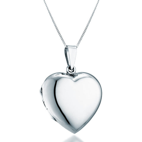 Silver Heart Locket Necklace - Zaffre Jewellery - 1