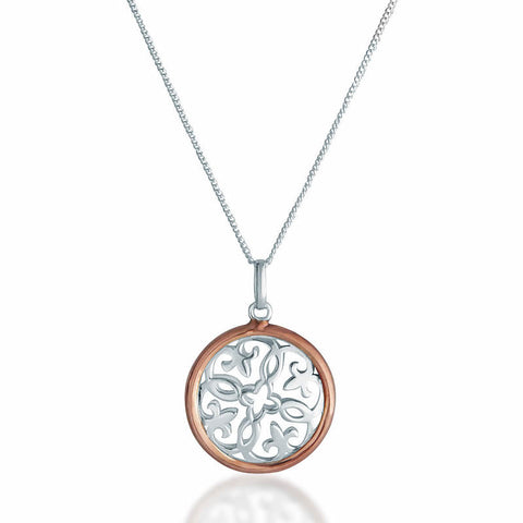 Rose & Silver Circle Pendant Necklace - Zaffre Jewellery - 1
