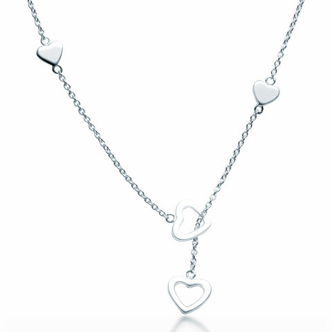 Hearts Lariat Necklace - Zaffre Jewellery - 1