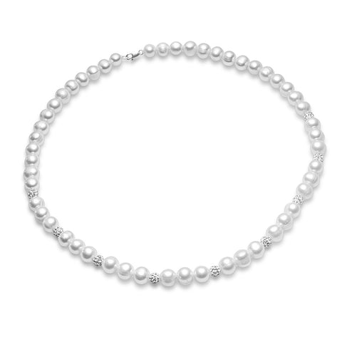 Pearl & Crystal Necklace - Zaffre Jewellery - 1