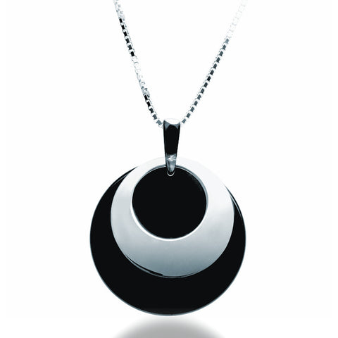 Onyx Disc Pendant Necklace - Zaffre Jewellery - 1