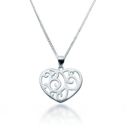 Filigree Heart Pendant Necklace - Zaffre Jewellery - 1