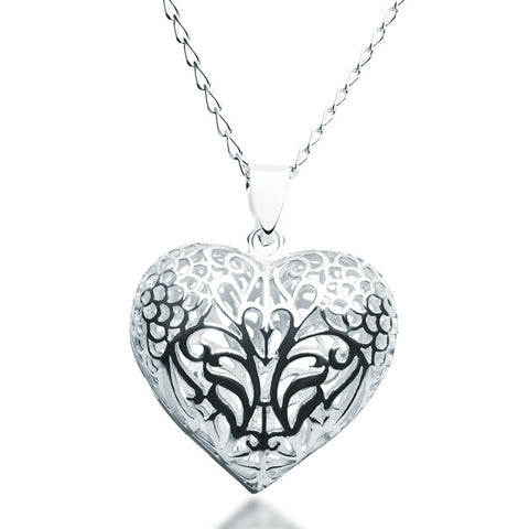 Filigree Puff Heart Necklace - Zaffre Jewellery - 1