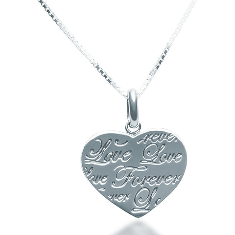 Script Heart Pendant Necklace - Zaffre Jewellery - 1