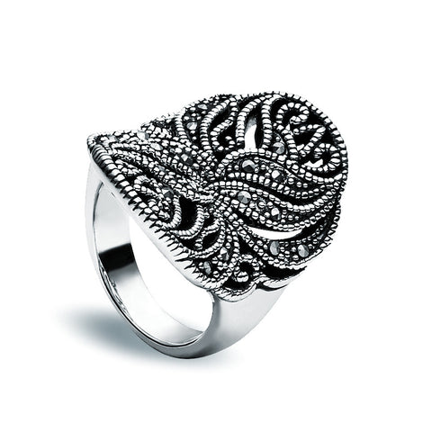 Jet Crystal Ring - Convex - Zaffre Jewellery - 1