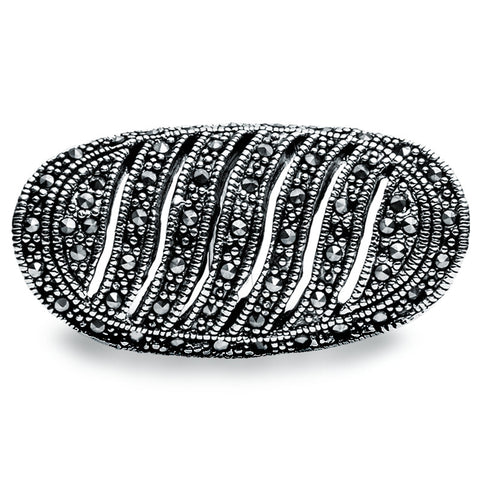 Jet Crystal Ring - Ellipse - Zaffre Jewellery - 1