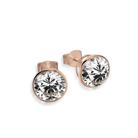 Bezel Set Studs - Rose Gold - Zaffre Jewellery - 1