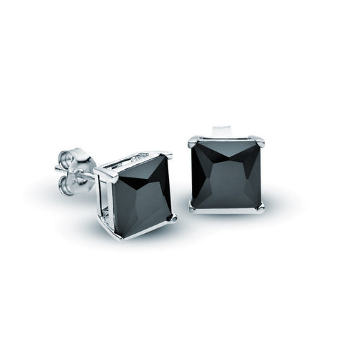 Square Claw Set Studs - Black - Zaffre Jewellery - 1