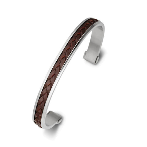 Blaze SS & Leather Bracelet - Brown - Zaffre Jewellery - 1