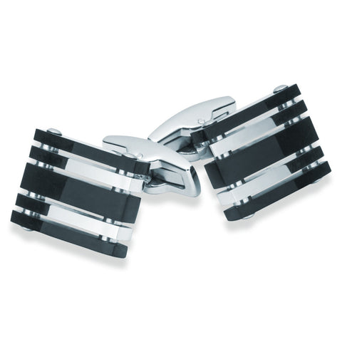 Stainless Steel Black & Silver Cufflinks - Zaffre Jewellery - 1