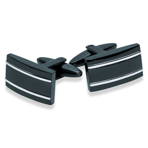 Stainless Steel Black & Silver Pinstripe Cufflinks - Zaffre Jewellery - 1