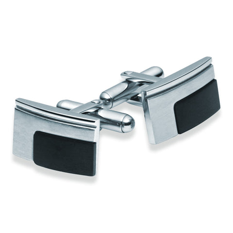Stainless Steel & Black Cufflinks - Zaffre Jewellery - 1
