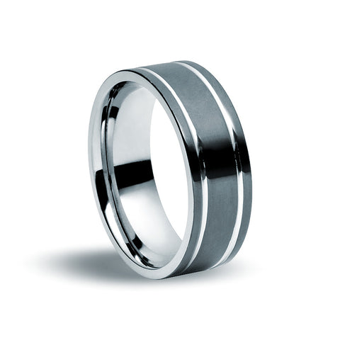 Stainless Steel Black Plate Ring - Zaffre Jewellery - 1