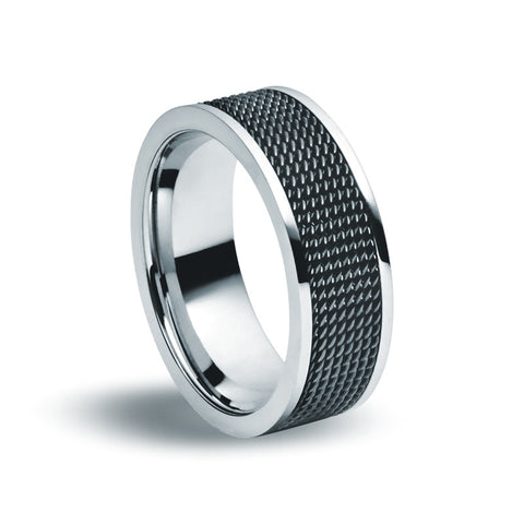 Stainless Steel & Black Wire Ring - Zaffre Jewellery - 1