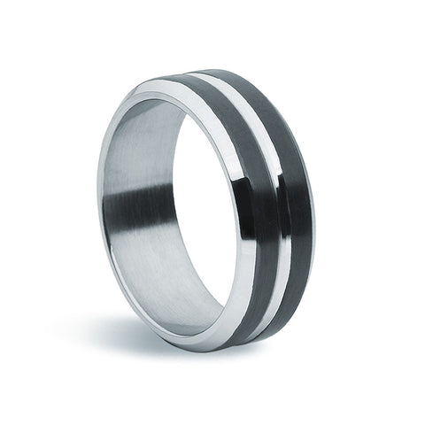 Stainless Steel & Dual Black Plate Ring - Zaffre Jewellery - 1