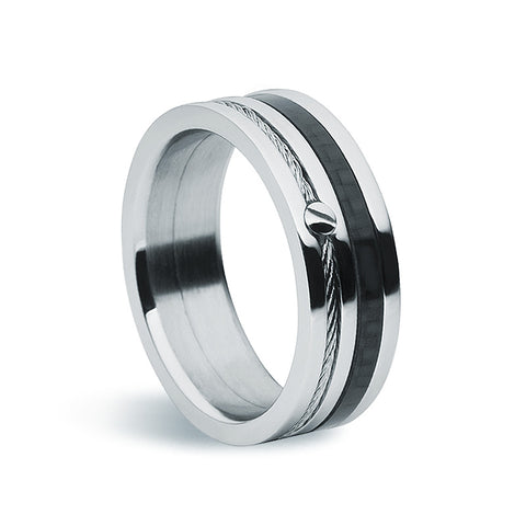 Stainless Steel & Carbon Fibre Ring - Zaffre Jewellery - 1