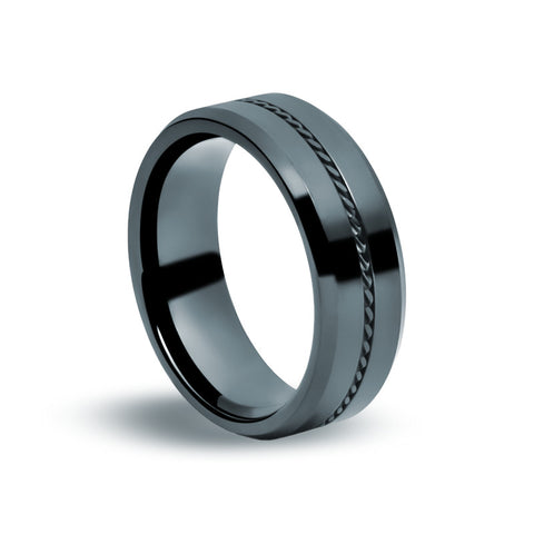 Black Tungsten Carbide - Twisted Wire Ring - Zaffre Jewellery - 1