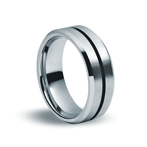 Tungsten Carbide Matte & Black Ring - Zaffre Jewellery - 1