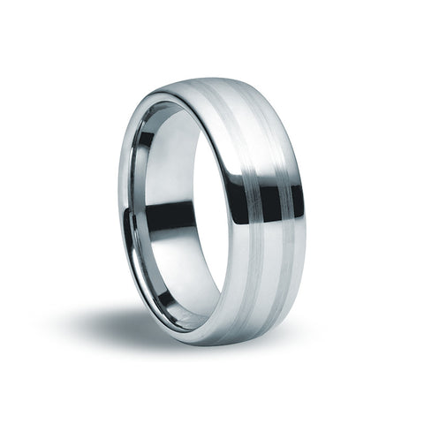 Tungsten Carbide Matte & Gloss Ring - Zaffre Jewellery - 1