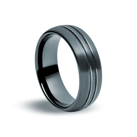 Black Tungsten Carbide - Machined Groove Ring - Zaffre Jewellery - 1