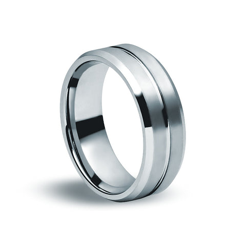 Tungsten Carbide - Machined Groove Ring - Zaffre Jewellery - 1