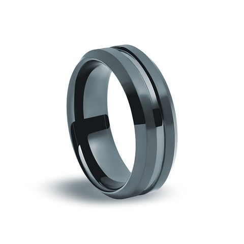 Black Tungsten Carbide - Square Edged Ring - Zaffre Jewellery - 1