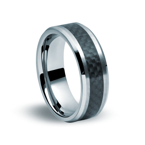Tungsten Carbide Carbon Fibre Ring - Zaffre Jewellery - 1