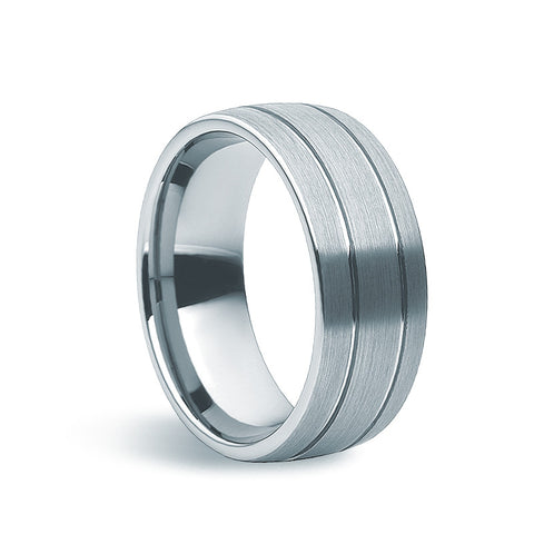Tungsten Carbide Machined Matte Ring - Zaffre Jewellery - 1